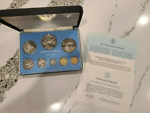 Coinage of Belize 8 pc 1975 Proof Set, Franklin Mint issued 8,794 sets