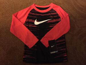 NWT Nike Dri-Fit Boys Sharp Orange and Black LS Shirt - 4