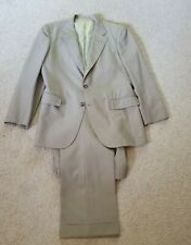 Southwick Mens Tan Khaki Suit Ivy Style Sack Coat 40r Pants 34 X 30