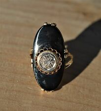 ESTATE 14K YELLOW GOLD DIAMOND & ONYX RING-SIZE 8.25-585 VINTAGE ART DECO