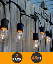 48FT LED Outdoor Waterproof Commercial Grade Patio String Lights Bulbs 2 Pack