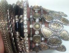 Black and silver tone bangle bracelets rhinestones, enamel, 2 stretch bracelets