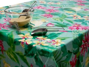 Green and Pink Tropical Birds and Butterflies PVC Vinyl Wipe Clean Tablecloth