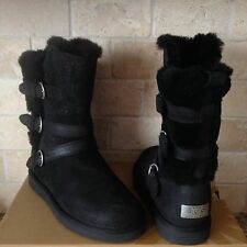 Ugg Becket Black Water-resistant Leather Sheepskin Buckle Boots US 6 Womens