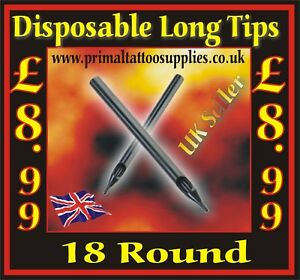 Disposable Long Tips 18 Round  - Box of 50  - (Tattoo Needles - Tattoo Supplies)