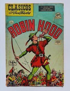 VINTAGE RARE CLASICOS ILLUSTRADOS ROBIN HOOD # 4 MEXICAN COMIC LA PRENSA 1952
