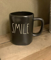 Rae Dunn - SMILE LL - Black Ceramic Coffee Mug
