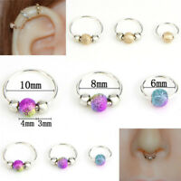 Stainless Steel Nose Ring Beads Nostril Hoop Nose Earring Piercing JewelPY