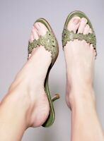 Coach Women's Clarissa Green Leather Heels Mules Slide Sandals Italy! Size 9.5 B