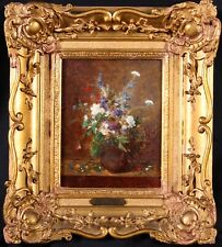 ALEXANDRE COUDER (1808-1879) SIGNED FRENCH OIL ON PANEL STILL LIFE FLOWERS VASE