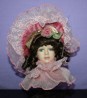Porcelain Doll Head Hanging Ornament ~ Brown Hair Blue Eyes ~ Dandee Int'l