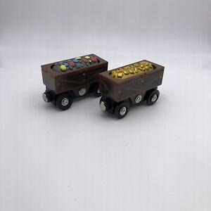 A164 Melissa & Doug Wooden Train Magic Mine 2 Gold Gem Ore cars X 2