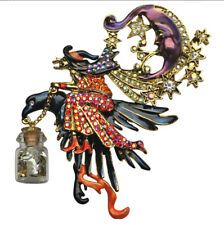 KIRKS FOLLY NIGHT RIDER WITCH PIN PENDANT w/ FOLLYDUST  goldtone 2018 RELEASE