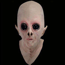 Realistic UFO Alien Mask Halloween Decoration Creepy Latex Bald Horror Cosplay