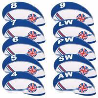 10PCS/set Neoprene Flag Golf Club Headcover Putter Head Cover Iron Protect Set
