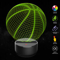 Basketball 3D Night Light Table Desk Lamp 7 Colors Optical Illusion Lights  A+