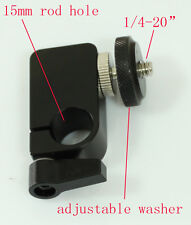 """single Rod clamp with 1/4""""  to 1/4"""" male adaptor for 15mm Support Rail Rig Rail"""