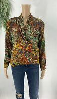 Vintage Michii Moon For Sanyo Womens Silk Blouse Size S S Paisley Shirt Top 80's