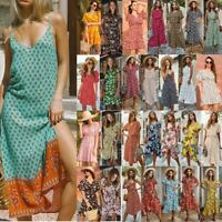 Fashion Boho Women Short Sleeve Floral Mini Summer Beach Sundress Wrap Tea Dress