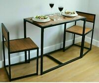 Compact Kitchen Table Chairs Dining Set Dark Wood Effect Furniture Space Saver.