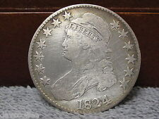 1824 BUST HEAD HALF DOLLAR-FAIR CONDITION-FREE SHIP