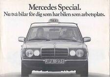 Mercedes Benz W123 Taxi 220D 240D 300D 300DL 1977-78 Original Swedish Brochure