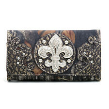New Mossy Oak Camouflage Women Tri-fold Croco Leather Wallet Purse Handbag