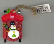 Ganz Snowman Sleigh Sled Ornament Personalized 'BOB' Stocking Stuffer NWT