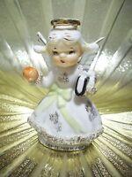 RARE VTG Lefton September Birthday Apple Angel Girl w Orig Sticker Figurine