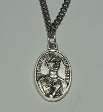"""St Pedro Calungsod Holy Medal on 24"""" Chain Phillipine Missionary to Guam Martyr"""