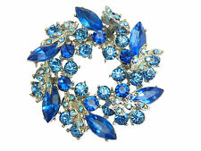 elegante REALE BLU Cerchio Cristallo Elements SPILLE PINS ARGENTO BASE BR44