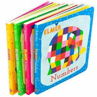 David McKee Learn with Elmer 4 Board Book Collection, Colours, Numbers, Shapes,