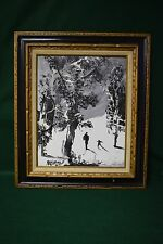 Morris Katz Signed 1973 Winter Snow Landscape Painting - Adult with Child