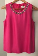 Kate Spade Women's size 6 Blouse Hot Pink Sleeveless Neckline Embellishment