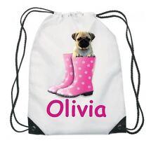 Personalised Gym Bag. Drawstring Swimming PE Sport School Any Name Pug 1