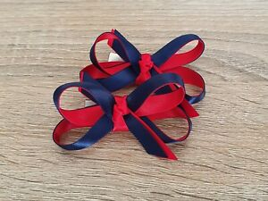School Hair Accessories Bow Clips Red Blue