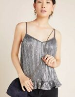 BNWT Anthropologie Amelia Beaded Cami Top Size 10 Silver RRP £90