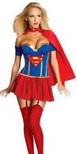 NEW ADULTS SUPERGIRL SUPERMAN SUPERHERO COSTUME FANCY DRESS- LADIES SIZE SM-MED