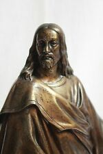 Beautiful French 19th Century Standing Jesus Christ Bronze Sculpture Marble Base