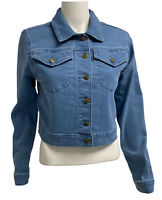 Calvin Klein women's jean jacket cropped button front size M/M