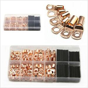 260Pcs Electrical Copper ring Lug Cable Wire Connectors Crimp Terminal Set Kit