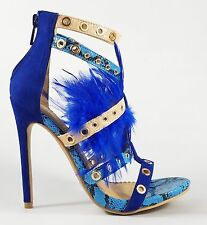 "Alba Doris 7 Blue Multi Color Strappy Shoe 4.5"" Stiletto Heel Feathers 6- 11"