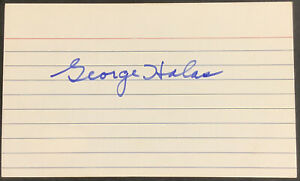 George Halas Signed Index Card 3x5 Chicago Bears Coach Autograph Stayms HOF JSA