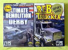 Ultimate Demolition Derby / Rebel Trucker: Cajun Blood Money ~ Rare New PC Game