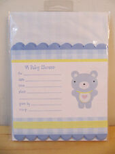 "New Hallmark ""A Baby Shower� Blue Bear 8 Invitations with Envelopes"