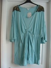 MINT GREEN SEQUIN DETAIL STRETCH TUNIC TOP *BEING CASUAL* - SIZE 18 / 20 - BNWT