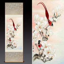 Chinese Silk Scroll Painting Magnolia Red Bird Home Office Decoration(玉兰锦雀)