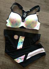 Sz M (A/C) Pant Set Victorias Secret PINK Ultimate Push Up Bra Extreme Crop Logo