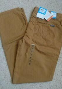 Men's Columbia Slim Fit Duck Egg Brown Chino Omnitech Bluff Trousers 40W 34L NEW