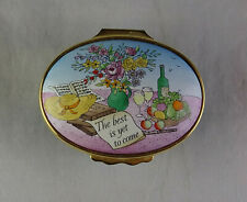 """Halcyon Days """"The Best Is Yet To Come� Oval Enamel Trinket Box"""